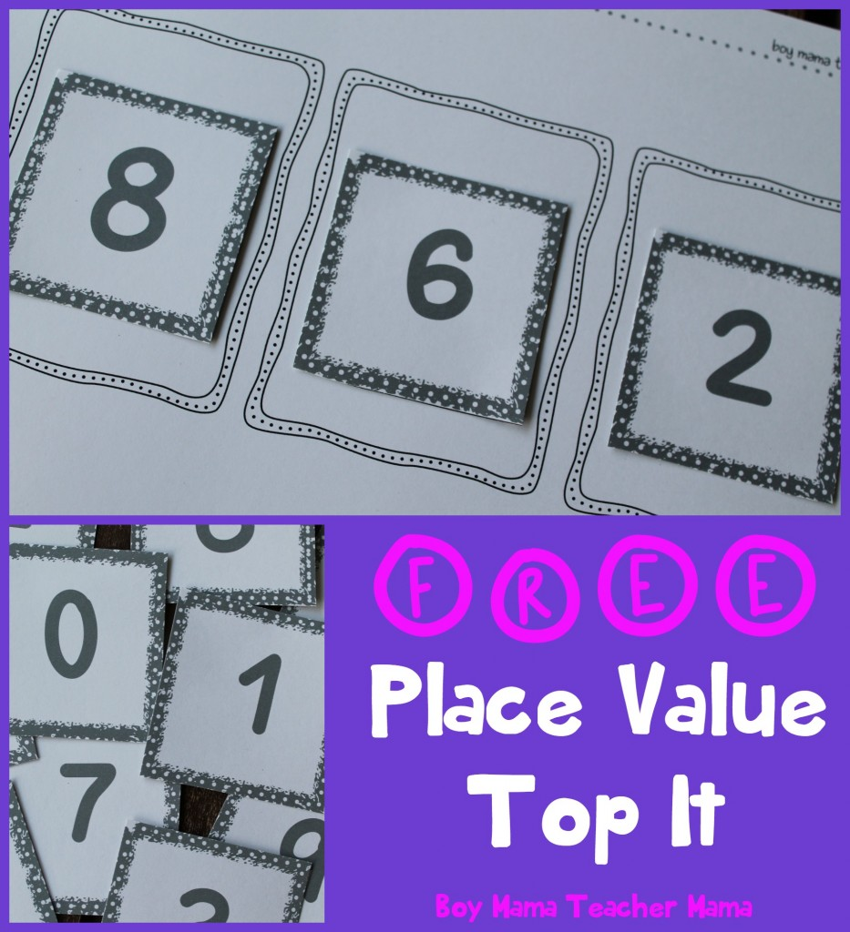Boy Mama Teacher Mama  FREE Place Value Top It Game (featured)