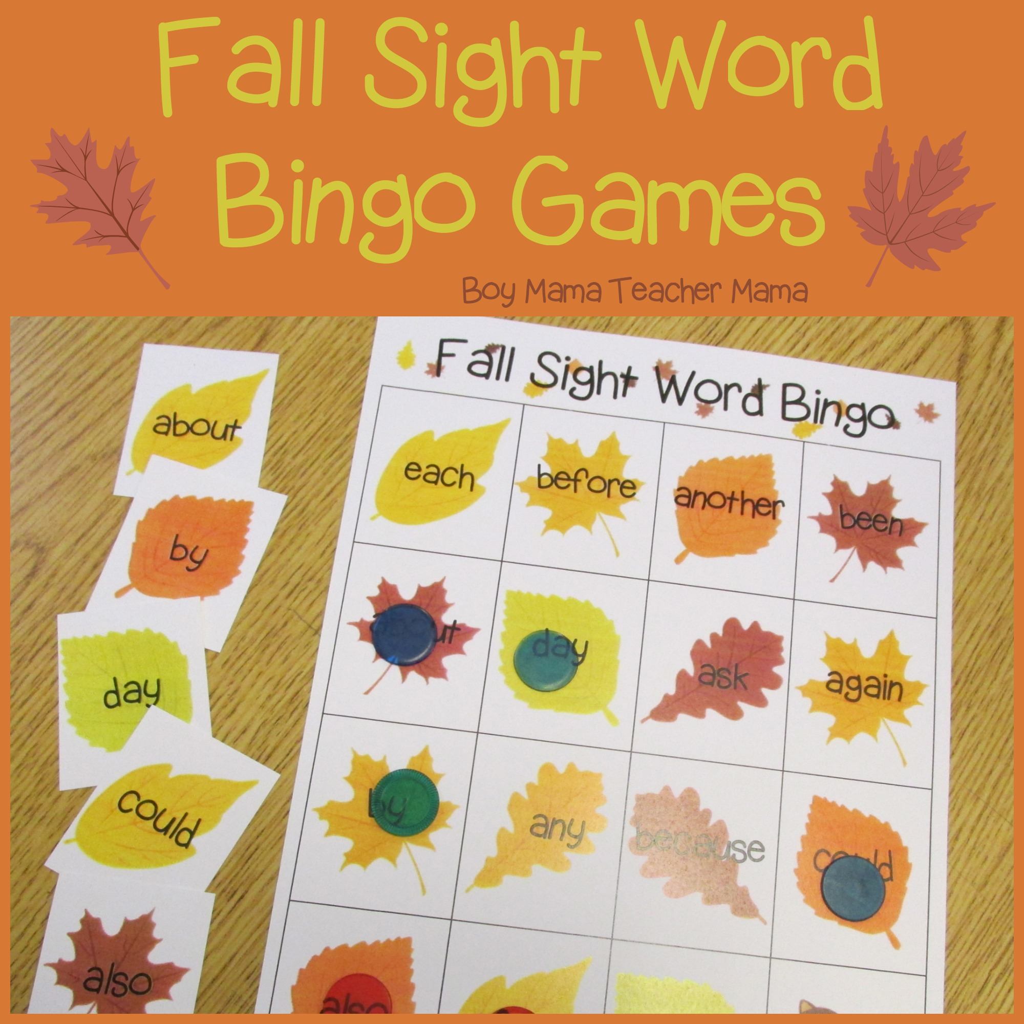 photograph about Fall Bingo Printable identify Instructor Mama: Slide Sight Phrase Bingo Game titles - Boy Mama Trainer