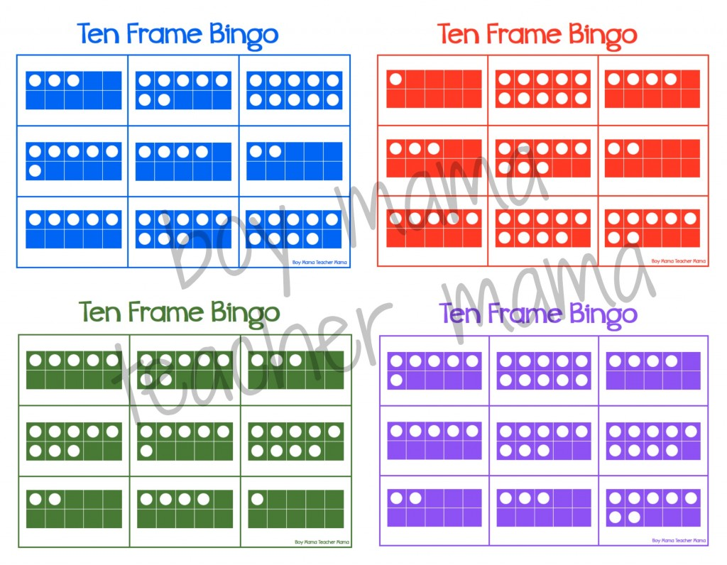 Boy Mama Teacher Mama  Ten Frame Bingo 6