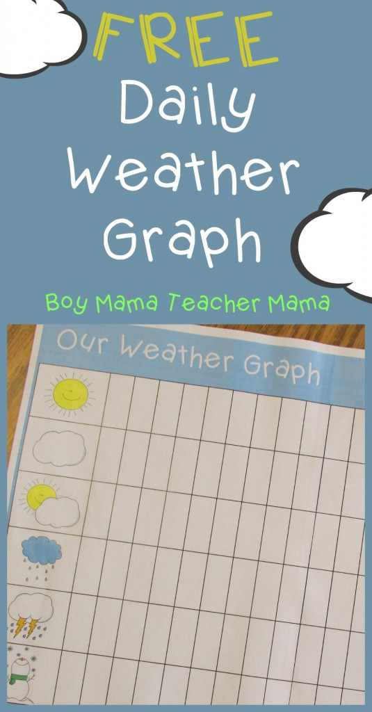 Boy Mama Teacher Mama  FREE Printable Daily Weather Graph (featured)