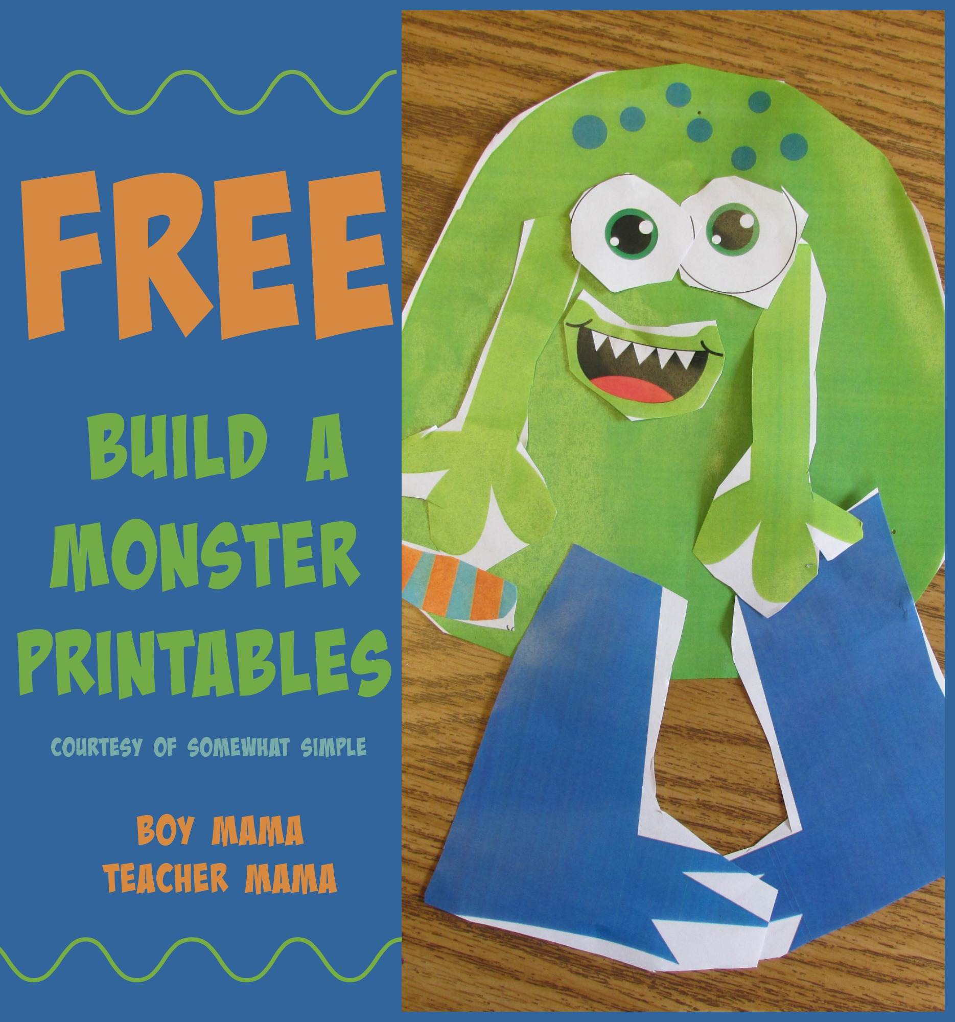 picture about Build a Monster Printable called Trainer Mama: Printable Establish a Monster Video game against