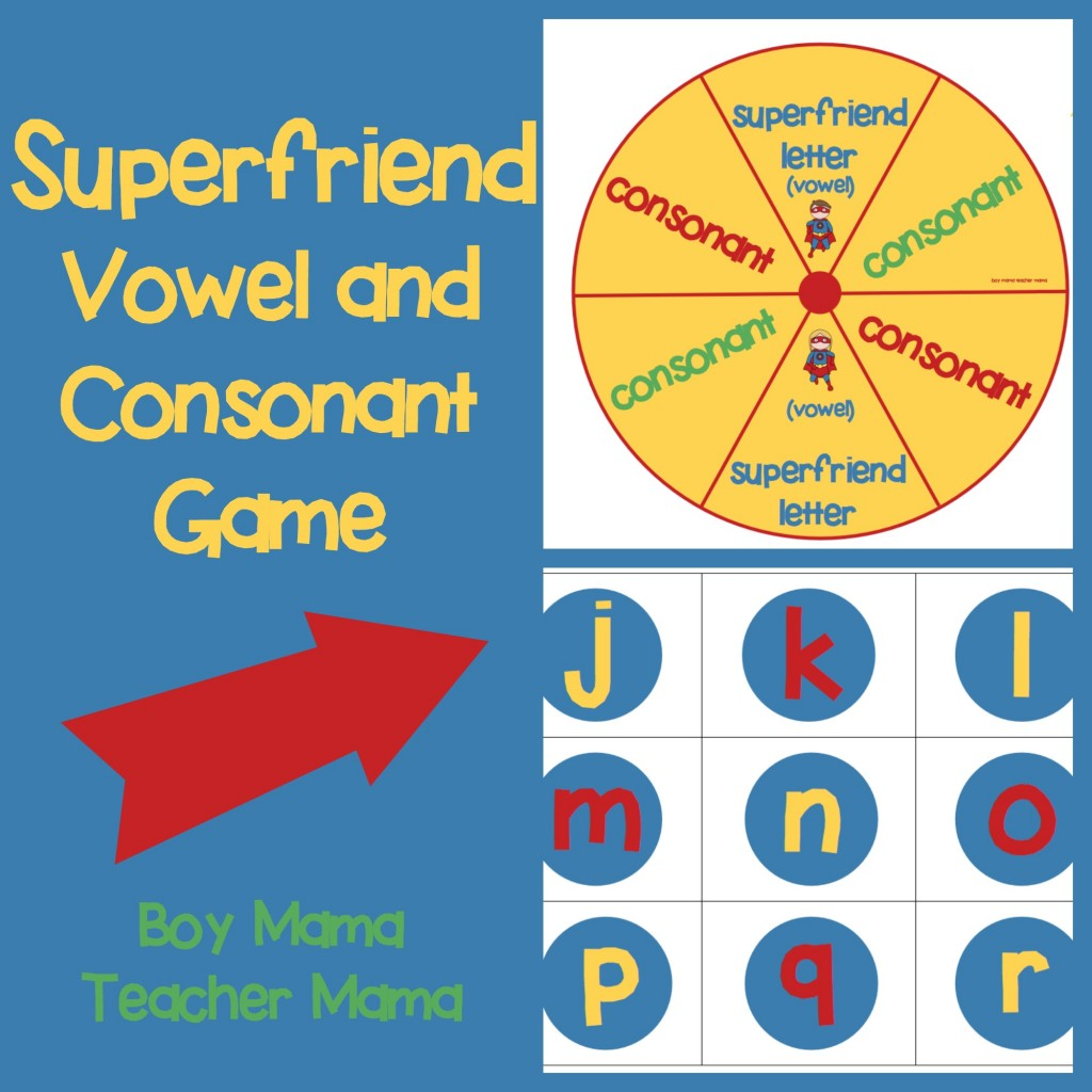 Boy Mama Teacher Mama  Superfriend Vowel Consonant Game