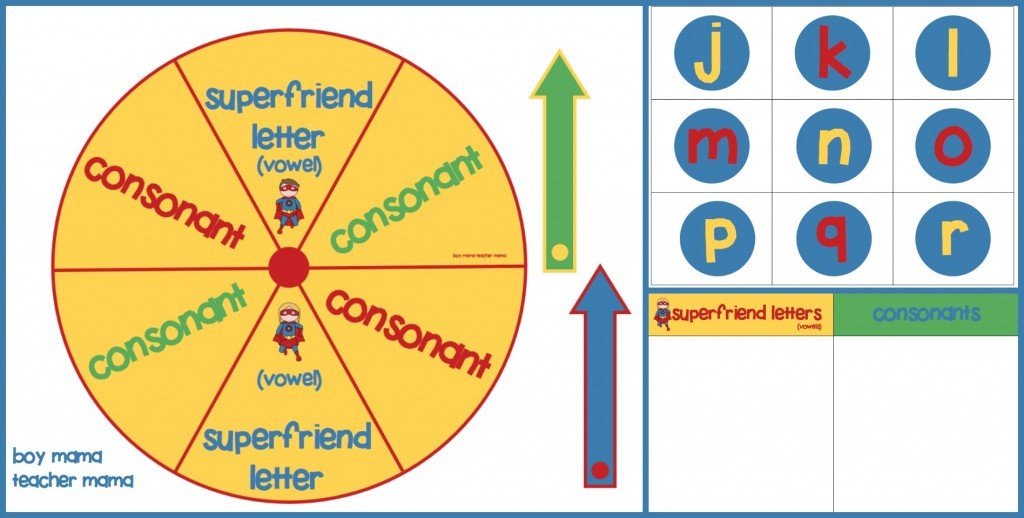 Boy Mama Teacher Mama  Superfriend Vowel Consonant Spin Game