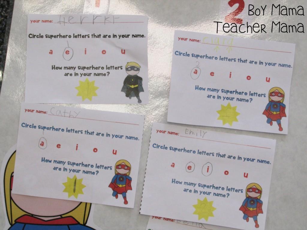 Boy Mama Teacher Mama  Superhero Vowels 6