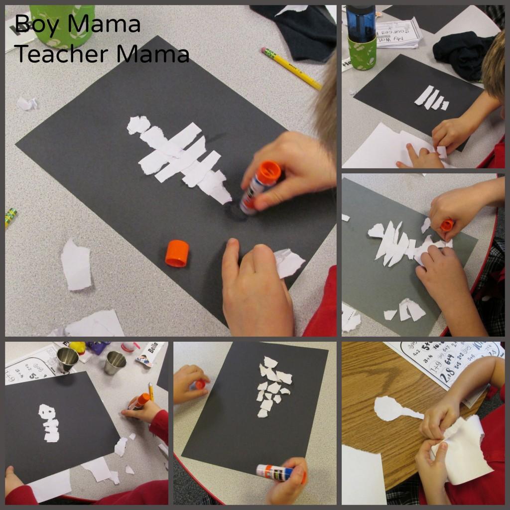 Boy Mama Teacher Mama  Torn Paper Skeleton