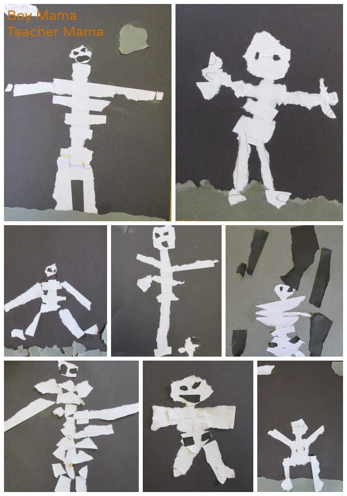 Boy Mama Teacher Mama  Torn Paper Skeleton 2