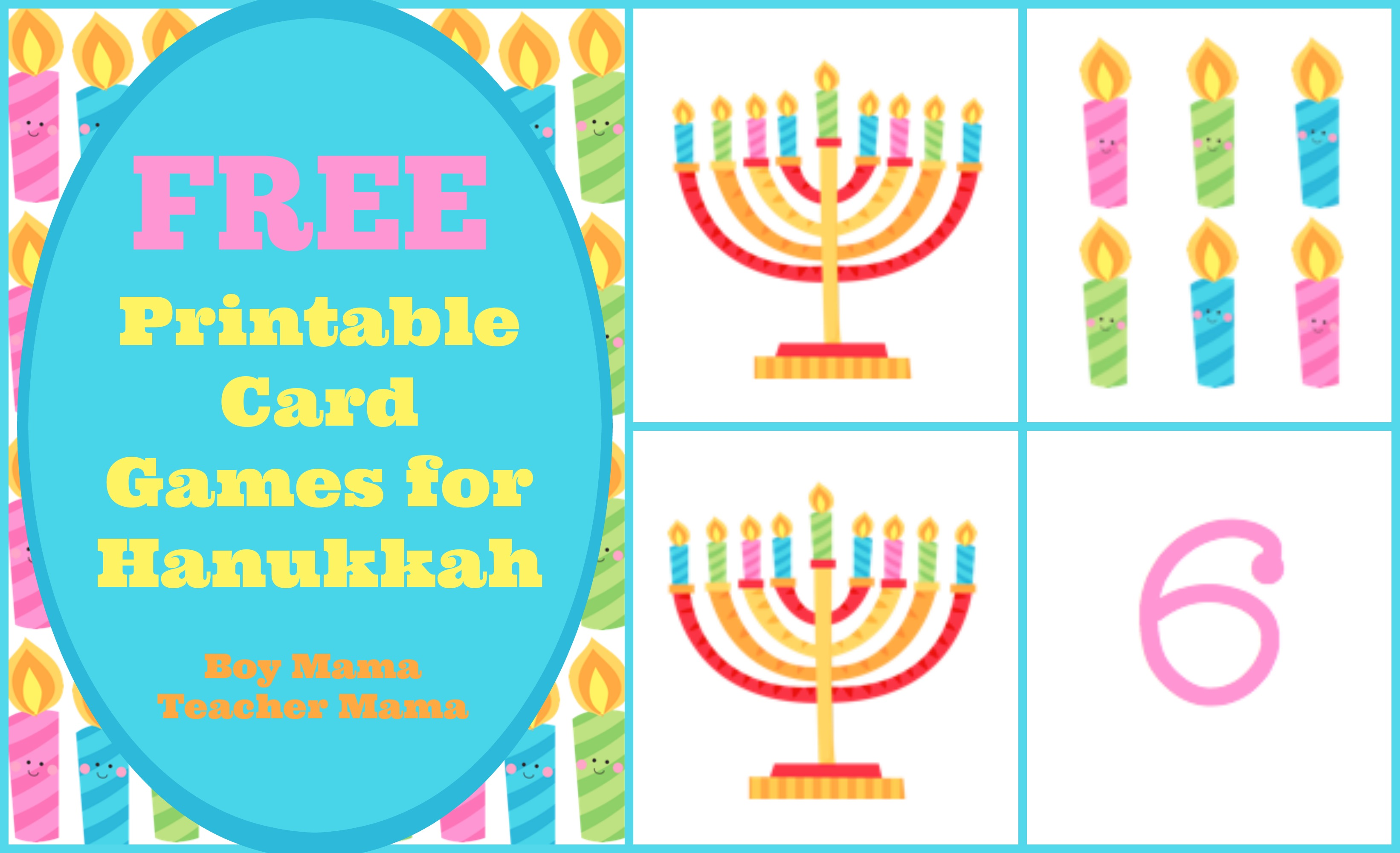 picture about Printable Hanukkah Card titled Boy Mama: Totally free Printable Card Online games for Hanukkah - Boy Mama