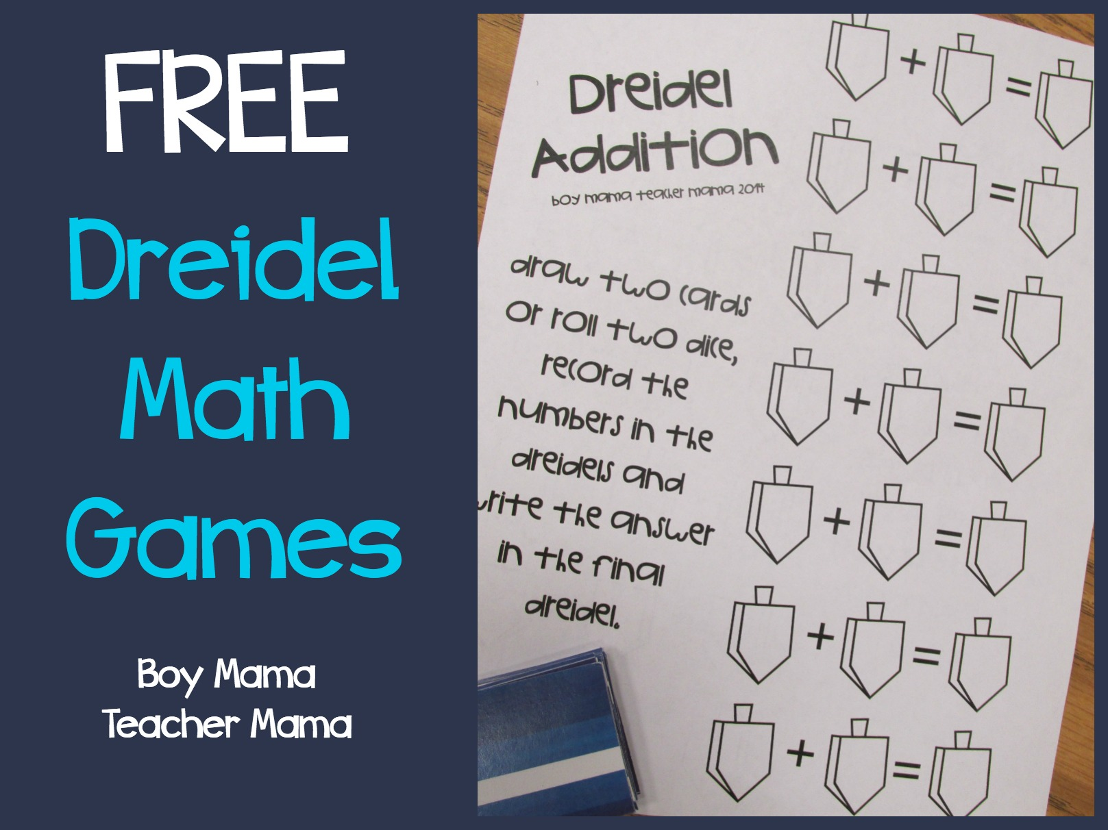 Boy Mama Teacher Mama FREE Dreidel Math Games