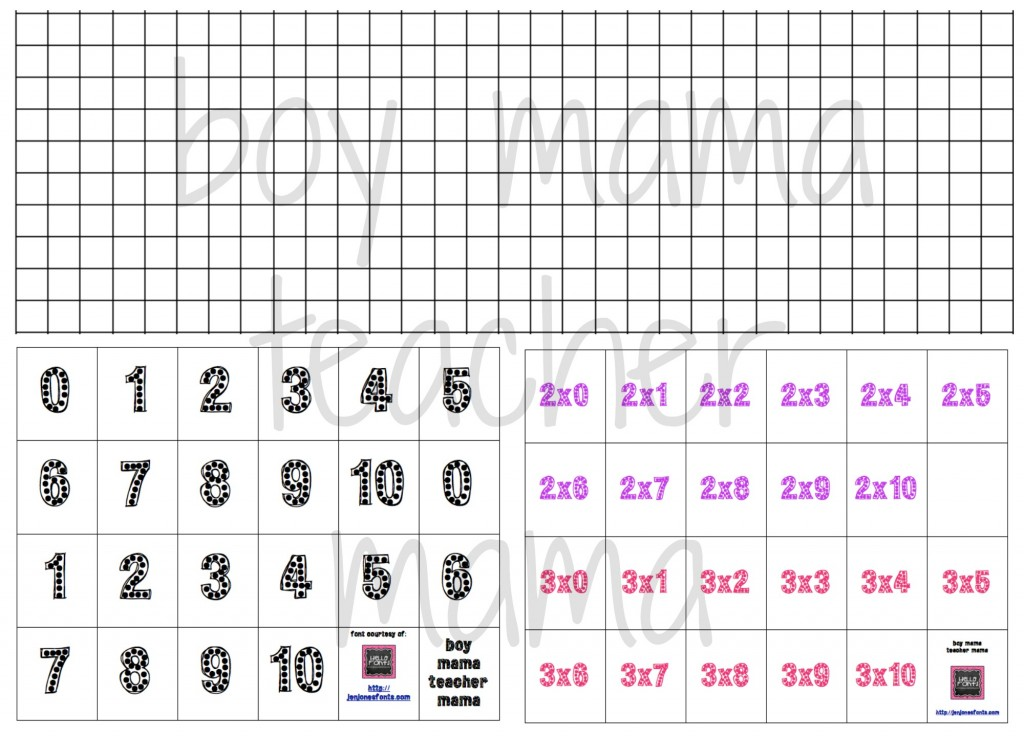 Boy Mama Teacher Mama   Multiplication Grid Game