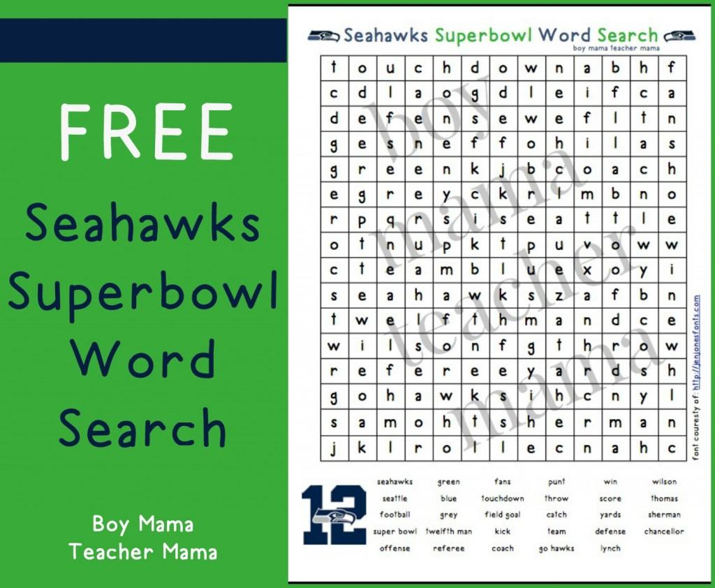 Boy Mama Teacher Mama  FREE Seahawks Superbowl Word Search 2