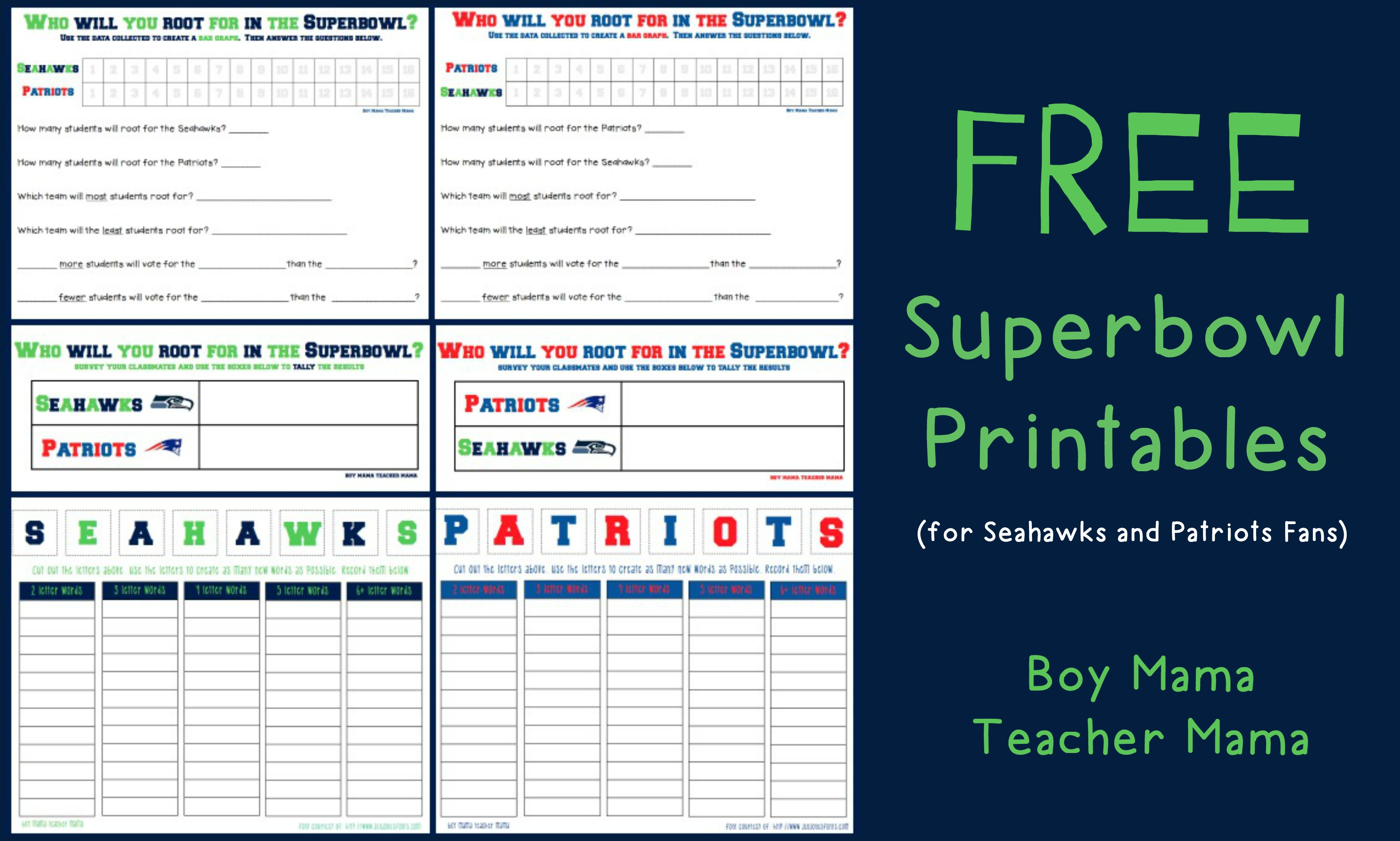 Boy Mama Teacher Mama FREE Superbowl Printables (featured)