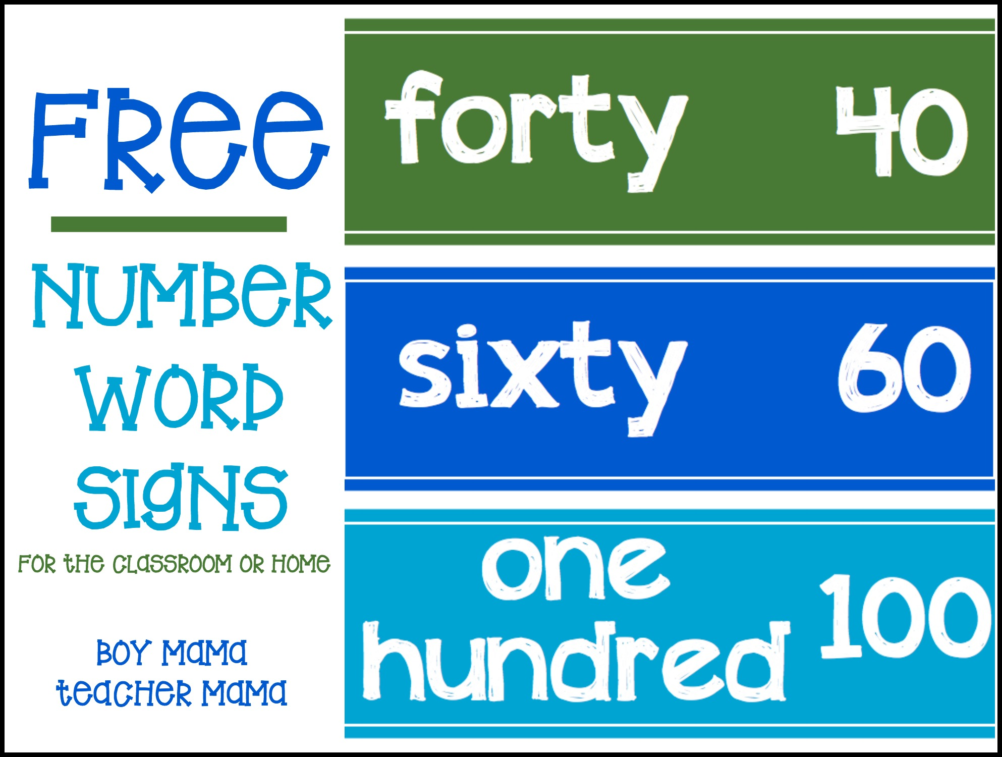 Boy Mama Teacher Mama More FREE Number Word Signs (featured)