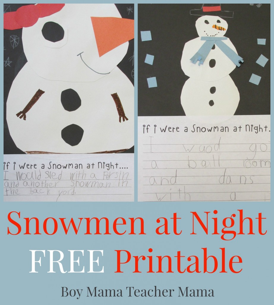 Boy Mama Teacher Mama  Snowmen at Night FREE Printable (featured)