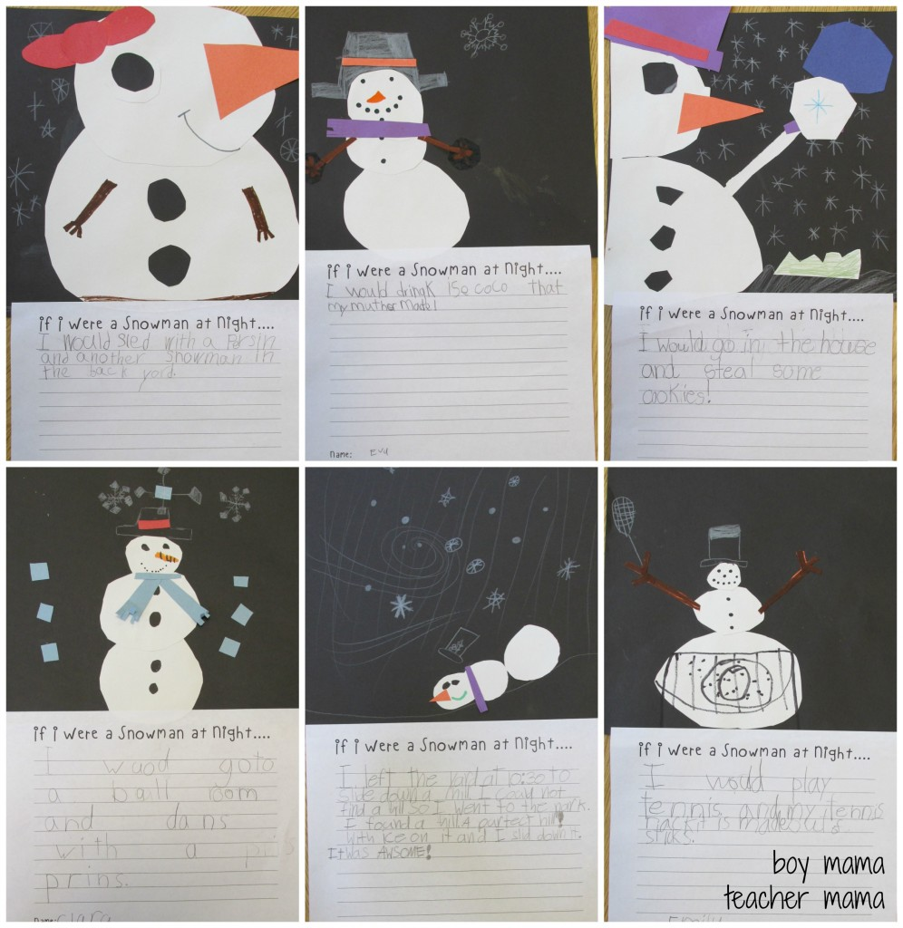 Boy Mama Teacher Mama  Snowmen at Night FREE Writing Printable and Craft 2