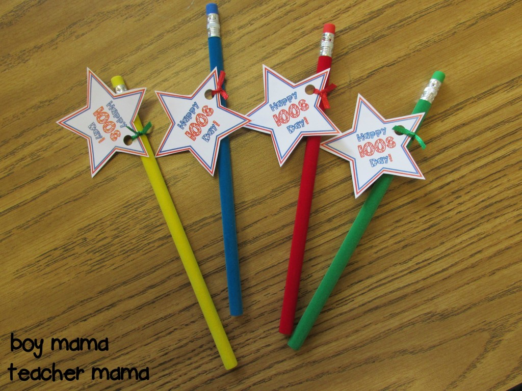 Boy Mama Teacher Mama  FREE 100s Day Pencil Tags 2
