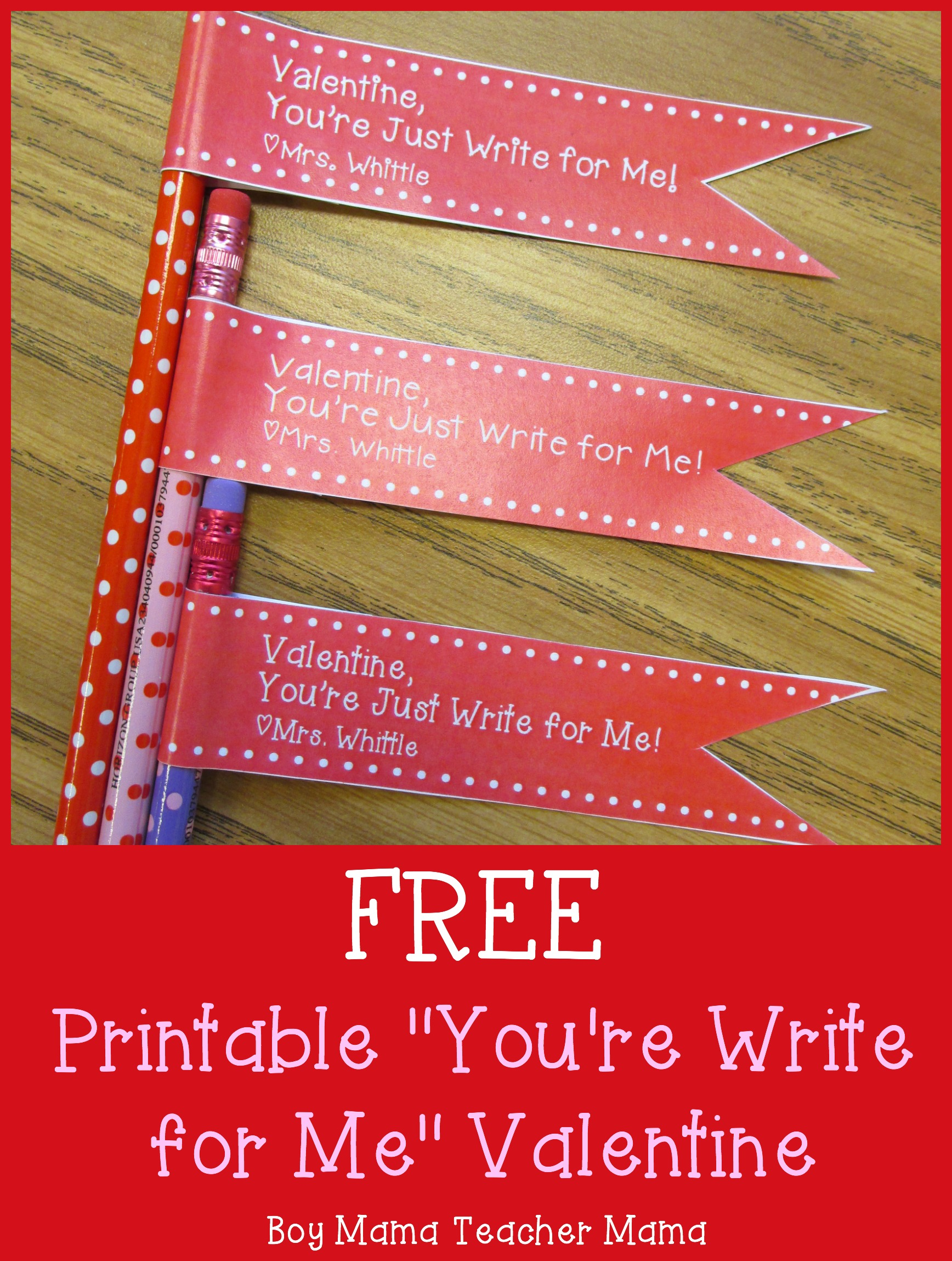 picture relating to Teacher Valentine Printable called Trainer Mama: Cost-free Printable Youre Generate for Me Valentines