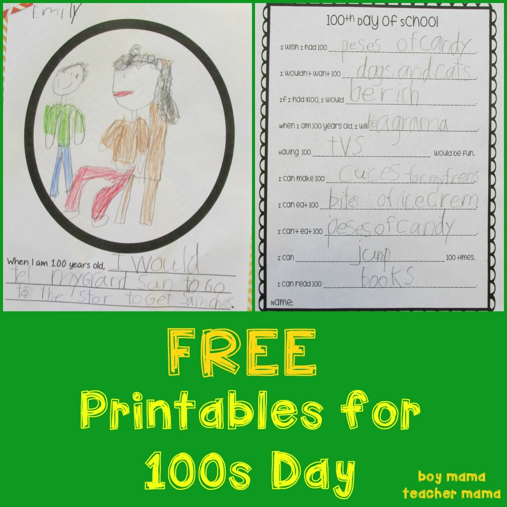 Boy Mama Teacher Mama FREE Printables for 100s Day