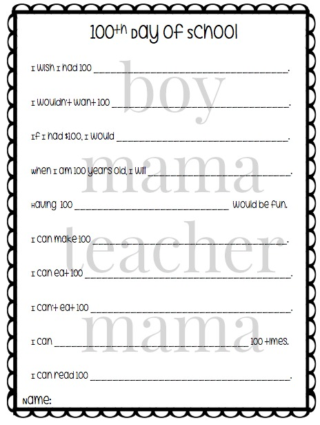 Boy Mama Teacher Mama FREE Printables for 100s Day 2