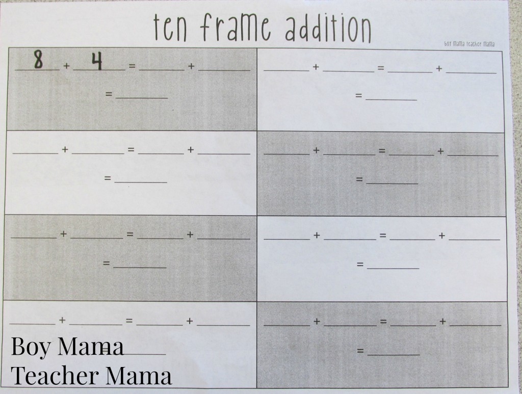 Boy Mama Teacher Mama  Ten Frame Addition 3