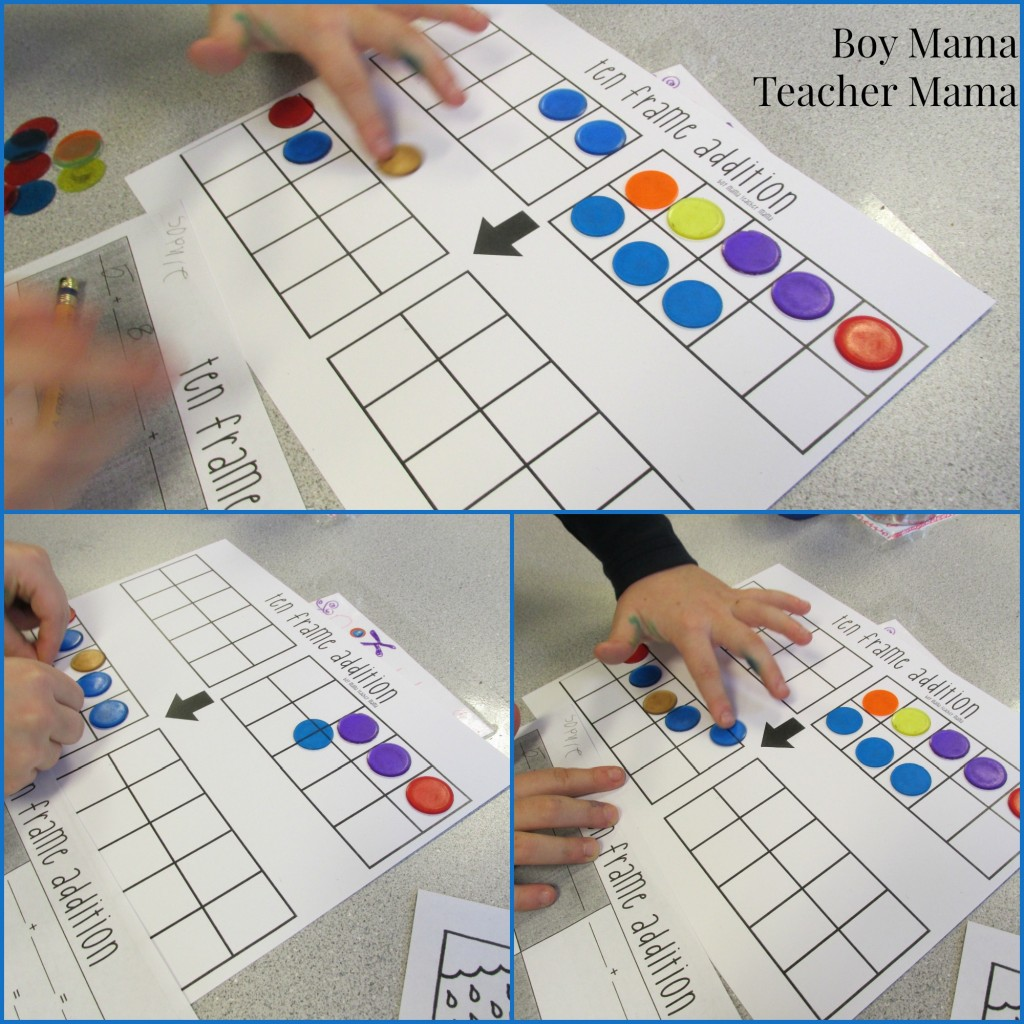 Boy Mama Teacher Mama  Ten Frame Addition Game 7