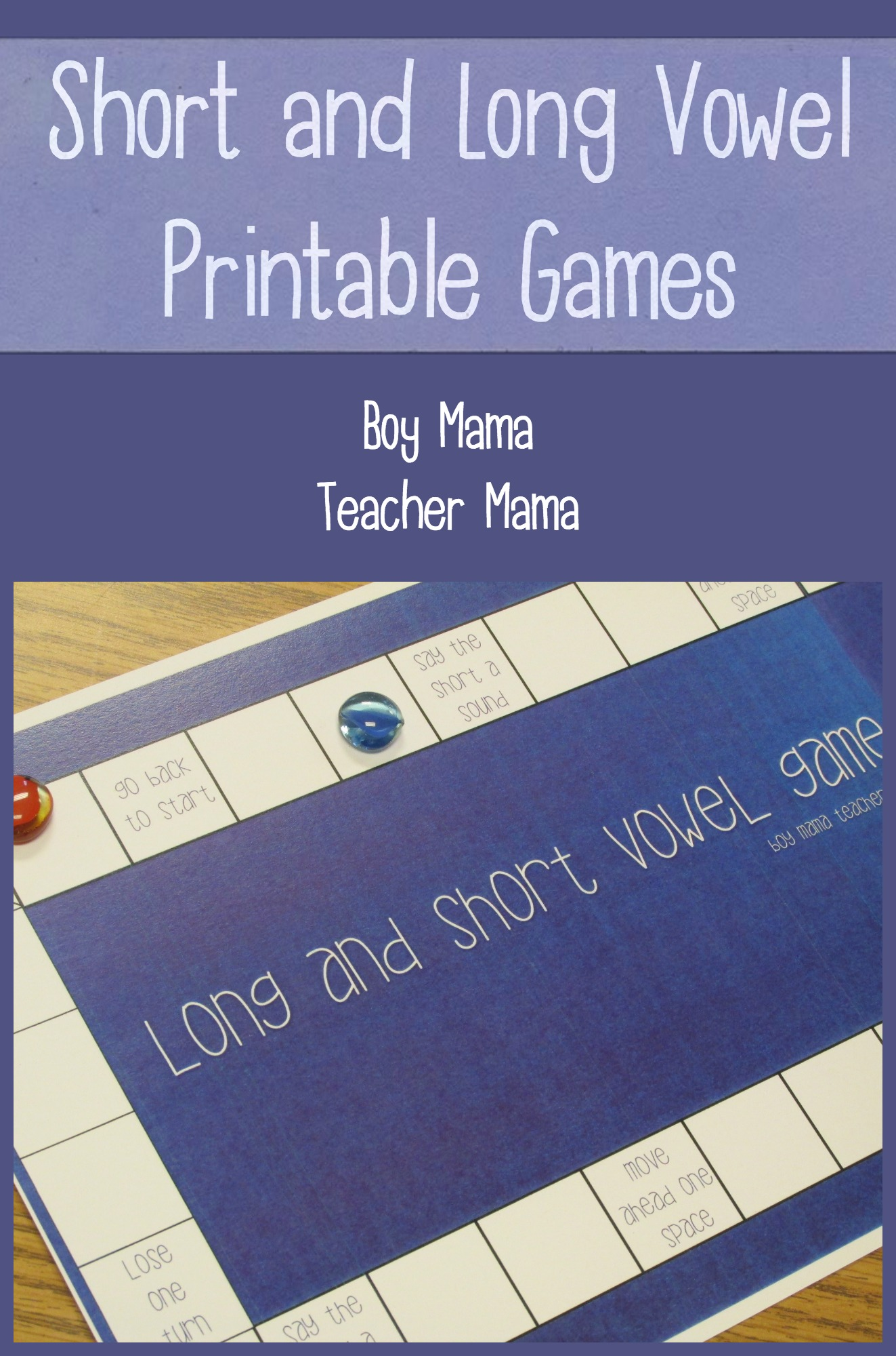 graphic regarding Printable Short Vowel Games named Trainer Mama: Limited and Extended Vowel Printable Game titles The moment