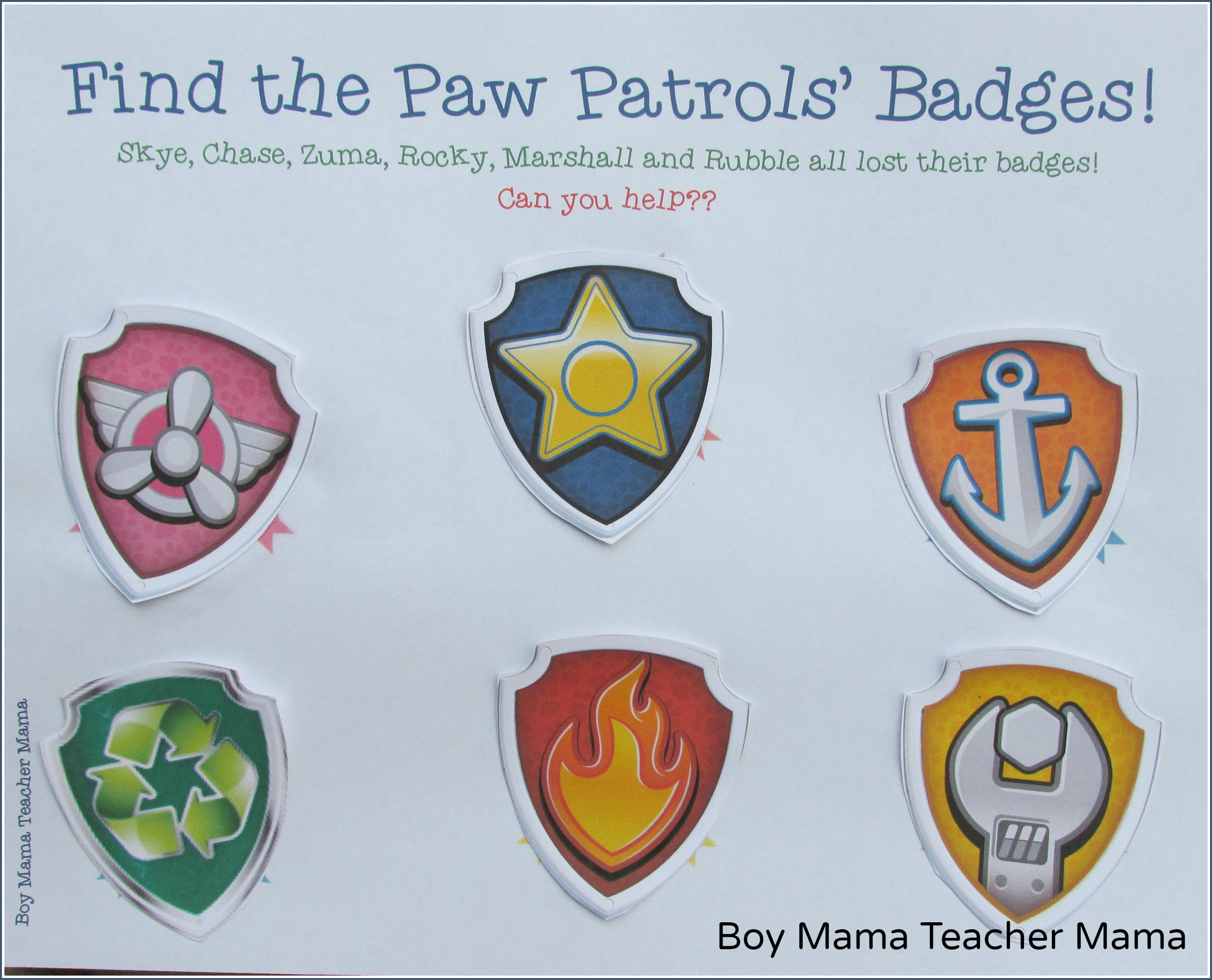 graphic about Free Printable Paw Patrol Badges named Boy Mama: Free of charge Paw Patrol Identify the Badge Printable Video game