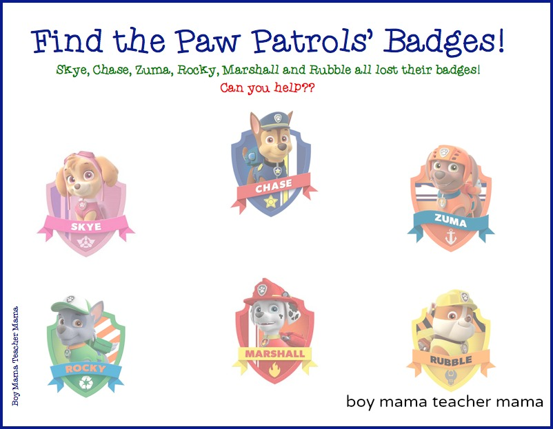 graphic relating to Paw Patrol Printable Pictures referred to as Boy Mama: Absolutely free Paw Patrol Identify the Badge Printable Activity