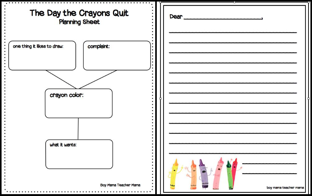 Boy Mama Teacher Mama The Day the Crayons Quit Review and Activity 2