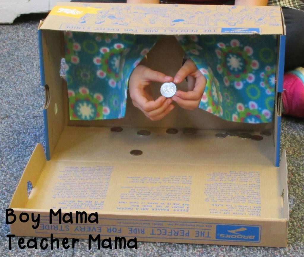 Teacher Mama Using a Touchy Feely Box for Coin Identification 2