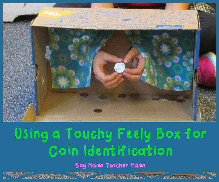 Teacher Mama Using a Touchy Feely Box for Coin Identification (featured)