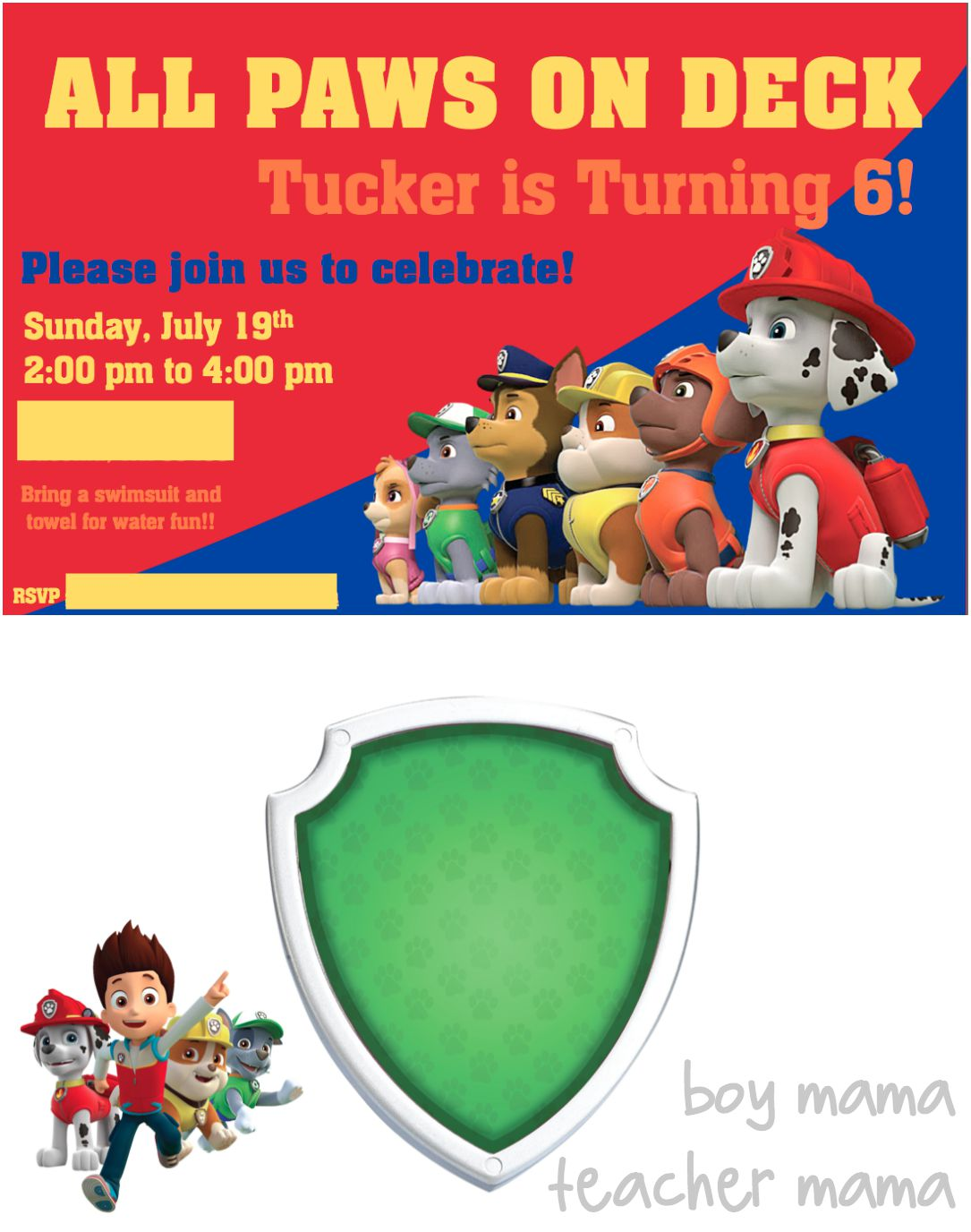 Boy Mama Teacher Paw Patrol Birthday Party Invitations