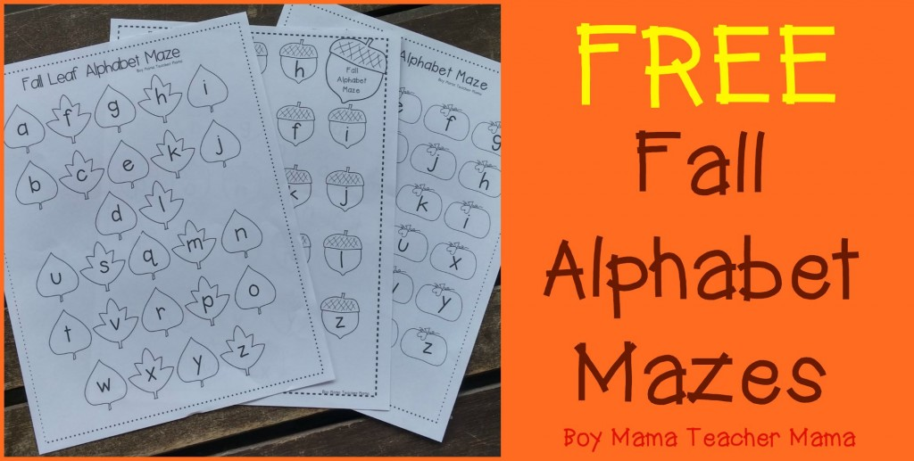 Boy Mama Teacher Mama FREE Fall Alphabet Mazes