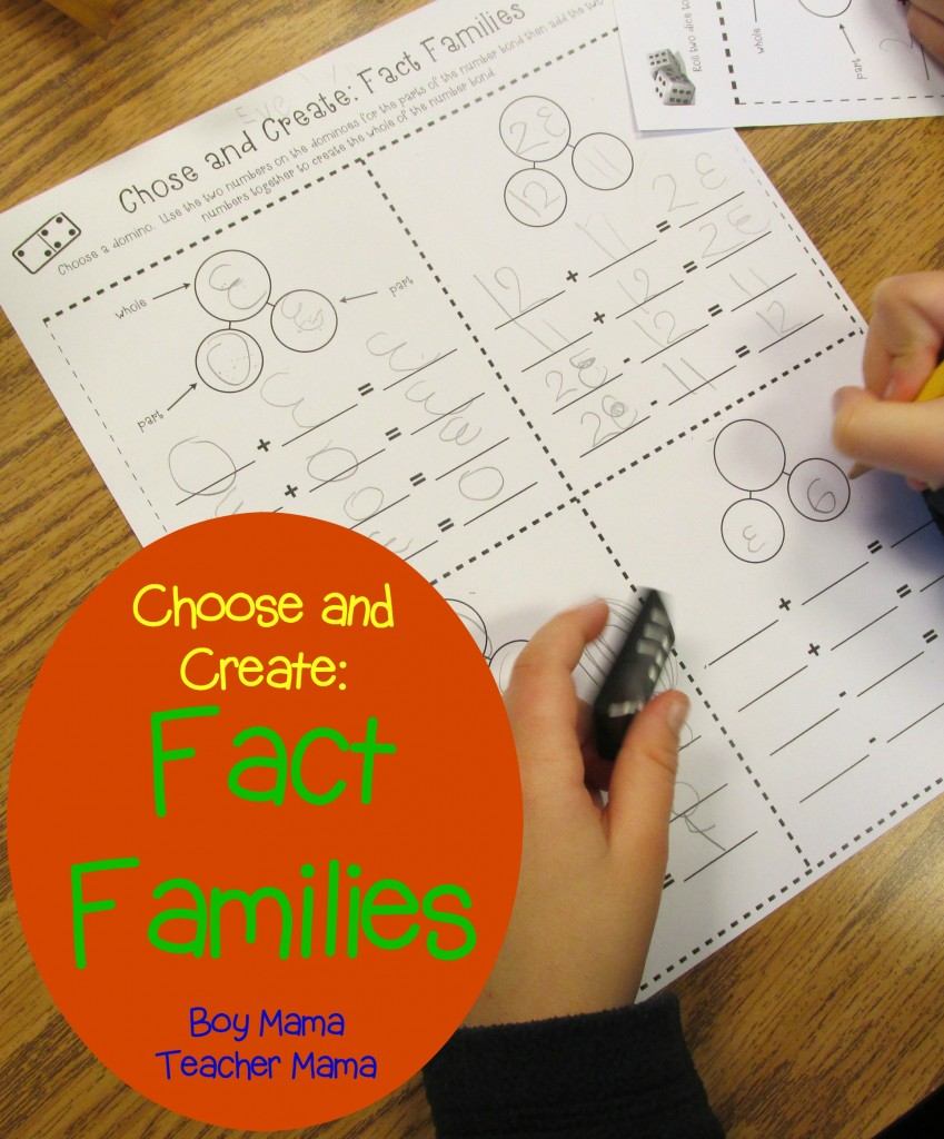Boy Mama Teacher Mama Choose and Create Fact Families (featured)