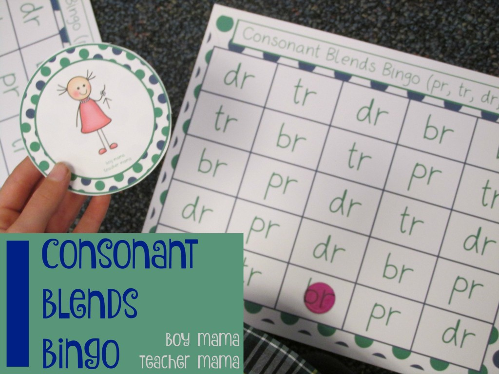 Boy Mama Teacher Mama Consonant Blends Bingo (featured)