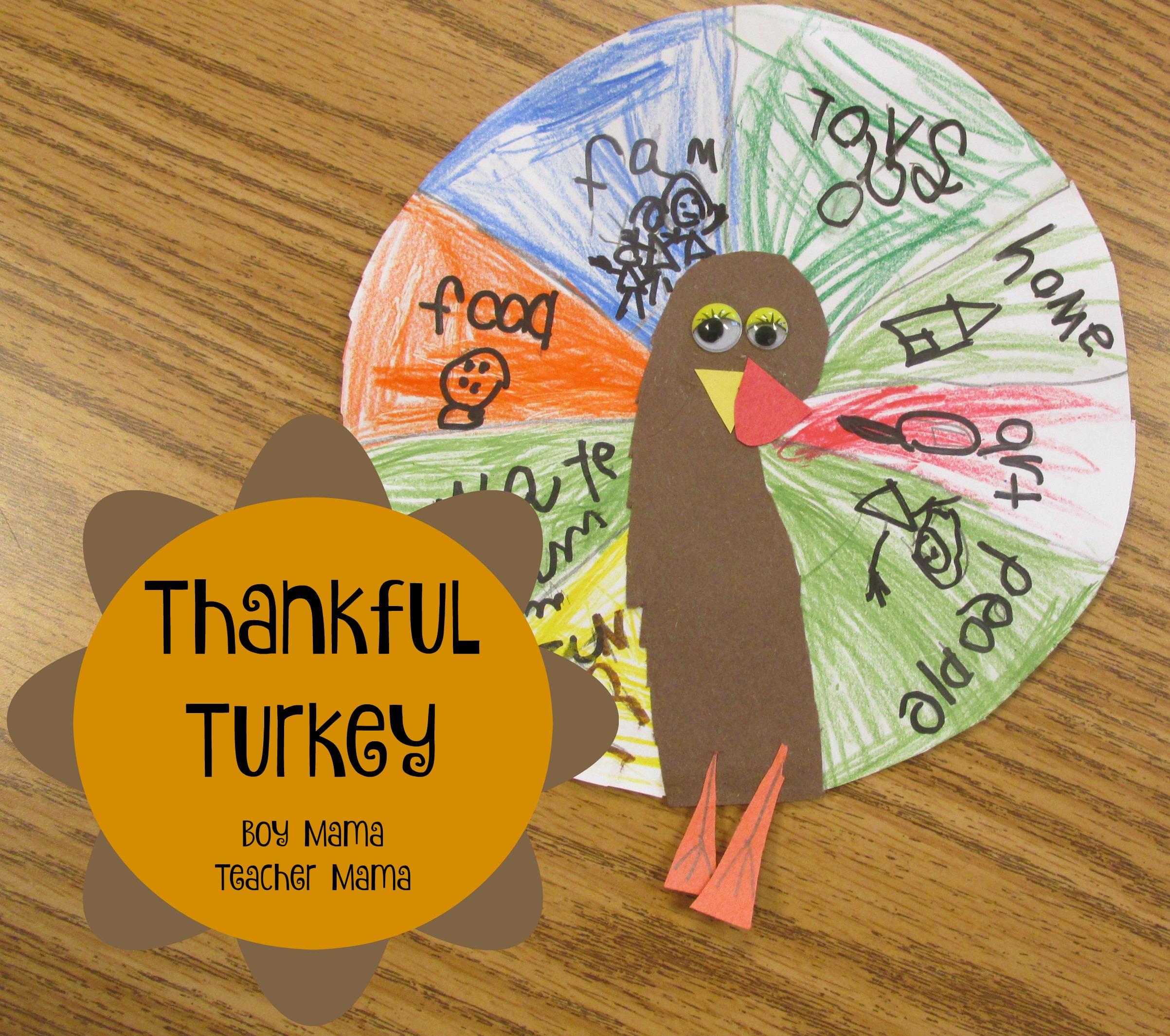 Teacher Mama Thankful Turkey Craft And Writing Activity Boy Mama