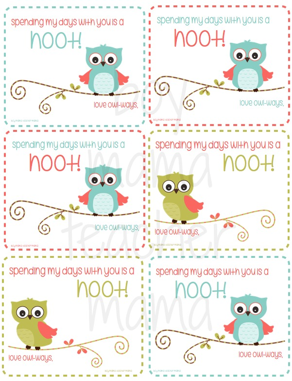 Boy Mama Teacher Mama FREE Printable Owl Valentines