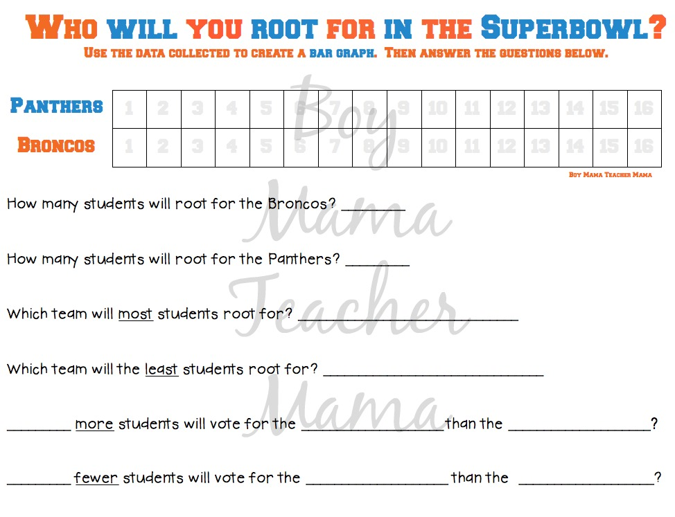 Boy Mama Teacher Mama FREE Superbowl Graph