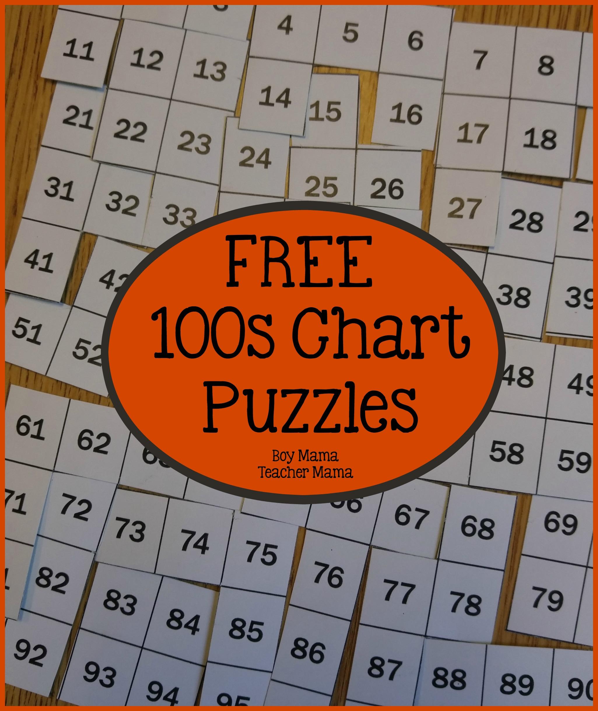Boy Mama Teacher Mama 100s Chart Puzzles