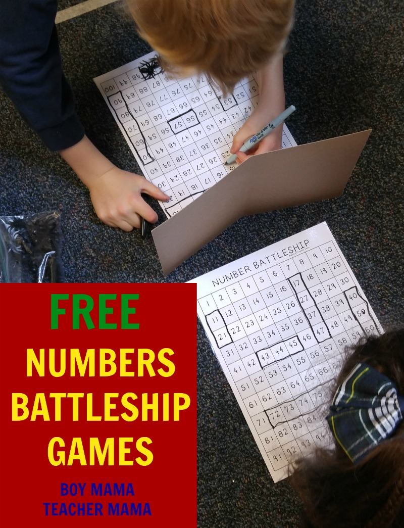 Boy Mama Teacher Mama FREE Numbers Battleship Games