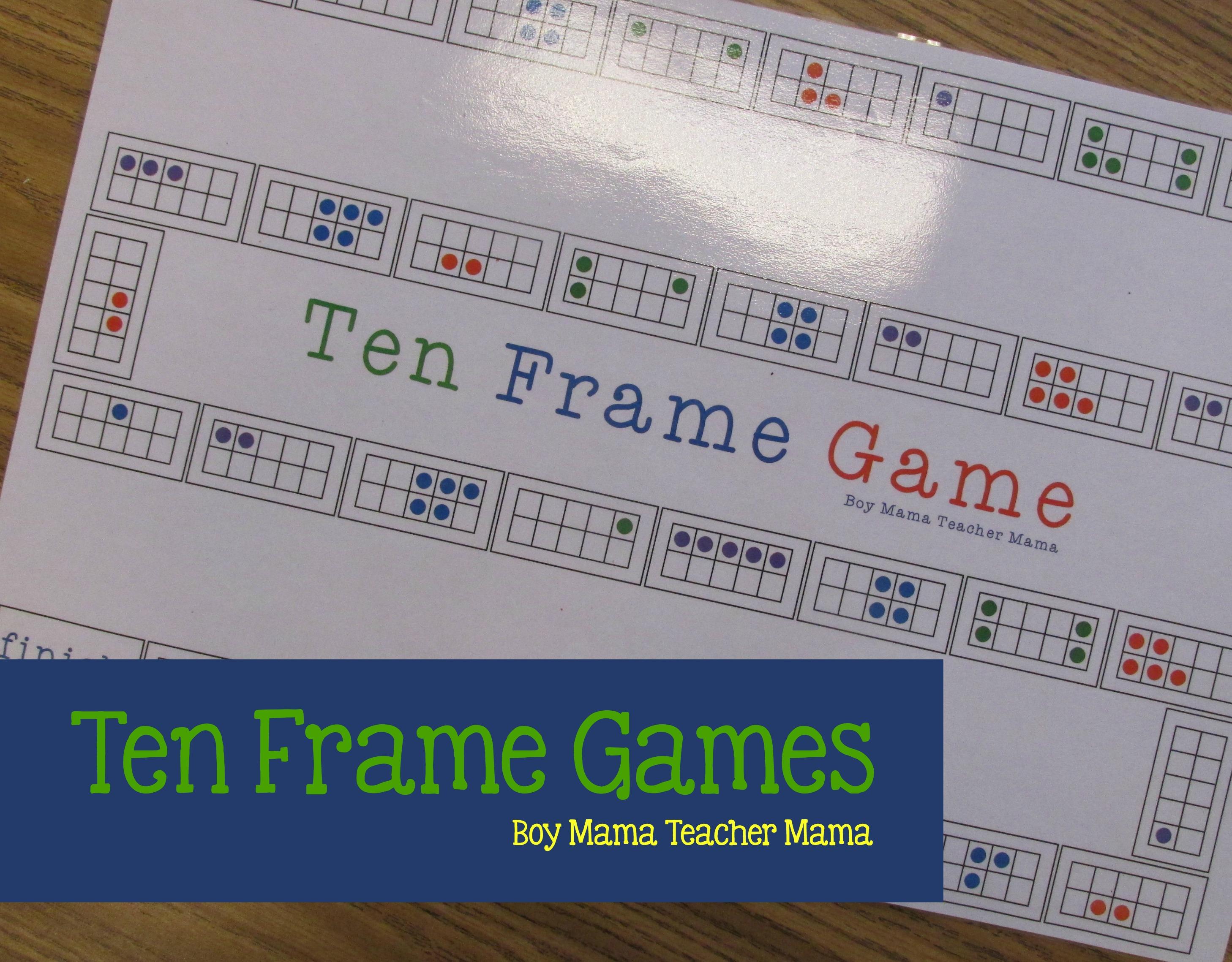 Boy Mama Teacher Mama Ten Frame Games