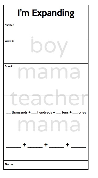boy mama teacher mama Place Value Expanding Numbers 2