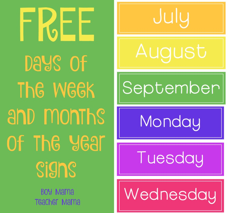 Boy Mama Teacher Mama FREE Days of the week signs (featured)